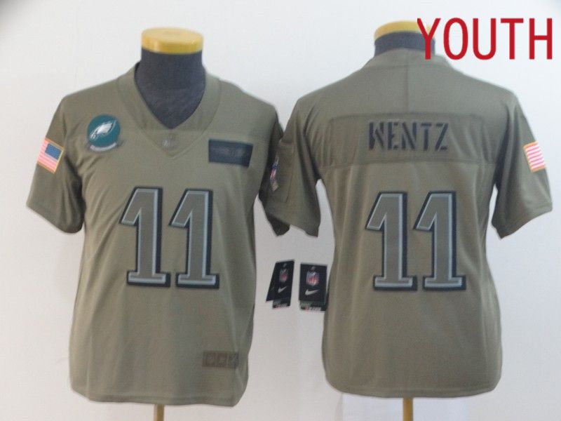 Youth Philadelphia Eagles 11 Wentz Nike Camo 2019 Salute to Service Limited NFL Jerseys