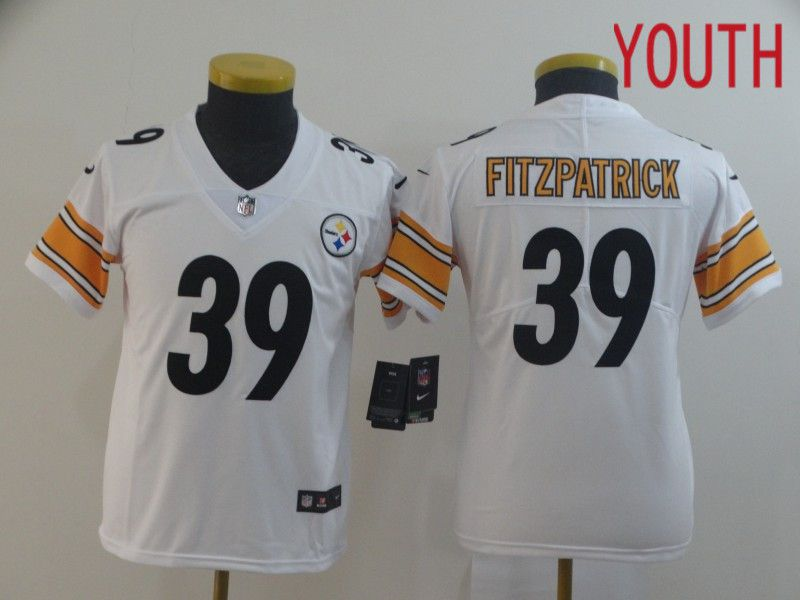 Youth Pittsburgh Steelers 39 Fitzpatrick White Nike Vapor Untouchable Limited Player NFL Jerseys