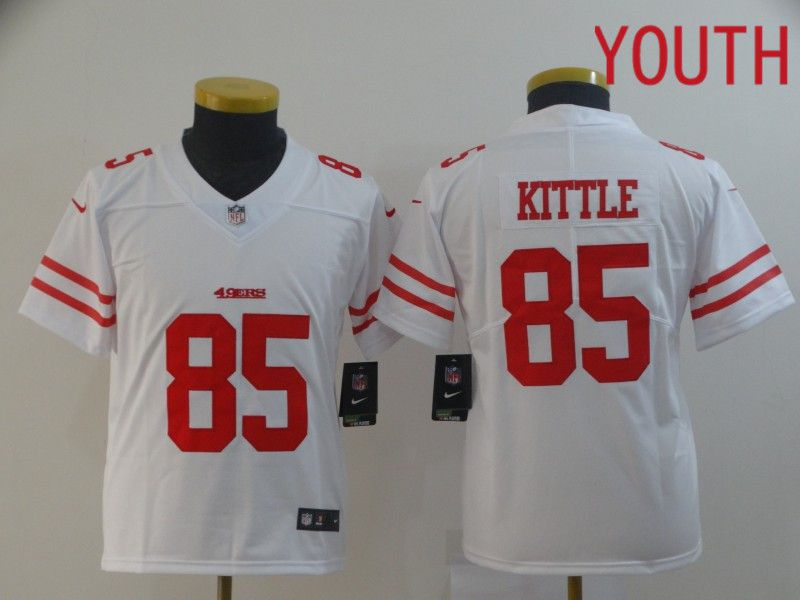 Youth San Francisco 49ers 85 Kittle White Nike Vapor Untouchable Limited Player NFL Jerseys