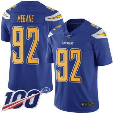 Los Angeles Chargers NFL Football Brandon Mebane Electric Blue Jersey Men Limited 92 100th Season Rush Vapor Untouchable
