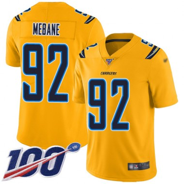 Los Angeles Chargers NFL Football Brandon Mebane Gold Jersey Men Limited 92 100th Season Inverted Legend