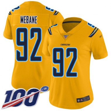 Los Angeles Chargers NFL Football Brandon Mebane Gold Jersey Women Limited 92 100th Season Inverted Legend