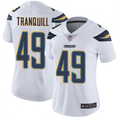 Los Angeles Chargers NFL Football Drue Tranquill White Jersey Women Limited 49 Road Vapor Untouchable