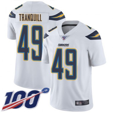 Los Angeles Chargers NFL Football Drue Tranquill White Jersey Youth Limited 49 Road 100th Season Vapor Untouchable