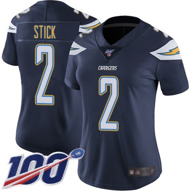 Los Angeles Chargers NFL Football Easton Stick Navy Blue Jersey Women Limited 2 Home 100th Season Vapor Untouchable