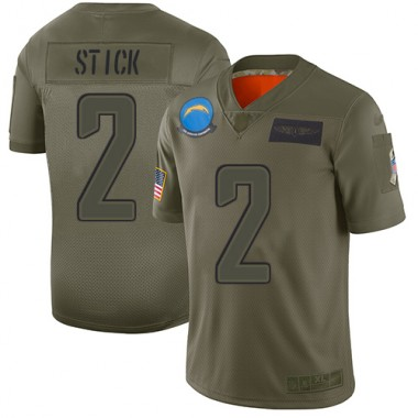 Los Angeles Chargers NFL Football Easton Stick Olive Jersey Youth Limited 2 2019 Salute to Service