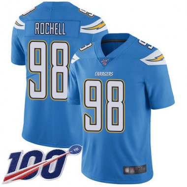 Los Angeles Chargers NFL Football Isaac Rochell Electric Blue Jersey Men Limited 98 Alternate 100th Season Vapor Untouchable