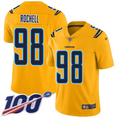 Los Angeles Chargers NFL Football Isaac Rochell Gold Jersey Men Limited 98 100th Season Inverted Legend