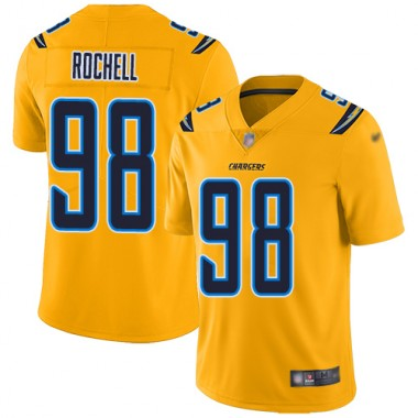 Los Angeles Chargers NFL Football Isaac Rochell Gold Jersey Men Limited 98 Inverted Legend