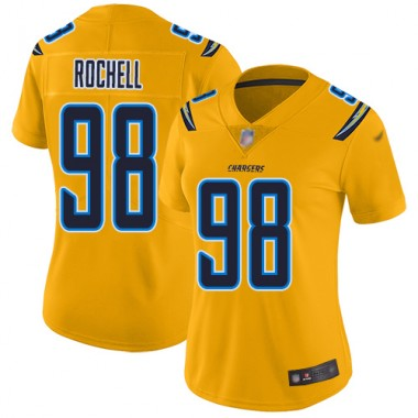 Los Angeles Chargers NFL Football Isaac Rochell Gold Jersey Women Limited 98 Inverted Legend