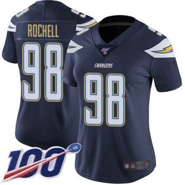 Los Angeles Chargers NFL Football Isaac Rochell Navy Blue Jersey Women Limited 98 Home 100th Season Vapor Untouchable