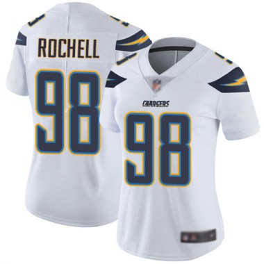 Los Angeles Chargers NFL Football Isaac Rochell White Jersey Women Limited 98 Road Vapor Untouchable