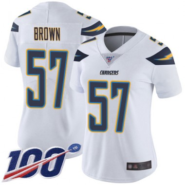 Los Angeles Chargers NFL Football Jatavis Brown White Jersey Women Limited 57 Road 100th Season Vapor Untouchable