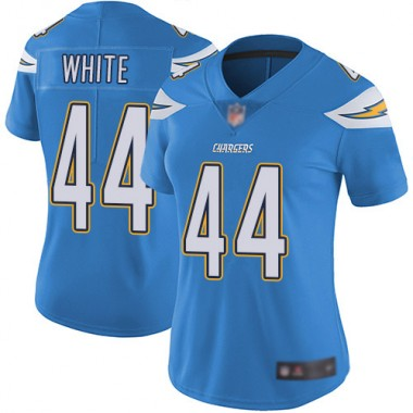 Los Angeles Chargers NFL Football Kyzir White Electric Blue Jersey Women Limited 44 Alternate Vapor Untouchable