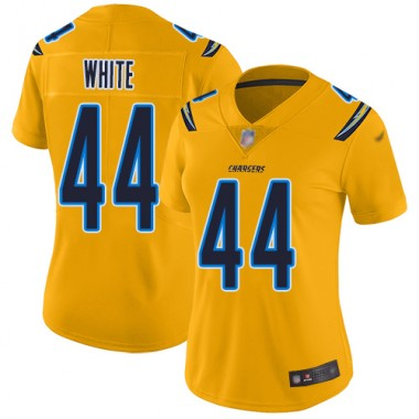 Los Angeles Chargers NFL Football Kyzir White Gold Jersey Women Limited 44 Inverted Legend