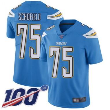 Los Angeles Chargers NFL Football Michael Schofield Electric Blue Jersey Men Limited 75 Alternate 100th Season Vapor Untouchable