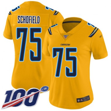 Los Angeles Chargers NFL Football Michael Schofield Gold Jersey Women Limited 75 100th Season Inverted Legend