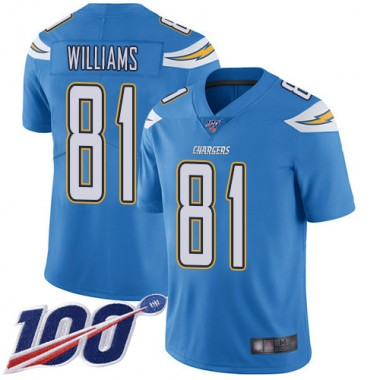 Los Angeles Chargers NFL Football Mike Williams Electric Blue Jersey Men Limited 81 Alternate 100th Season Vapor Untouchable
