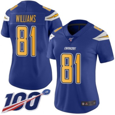 Los Angeles Chargers NFL Football Mike Williams Electric Blue Jersey Women Limited 81 100th Season Rush Vapor Untouchable