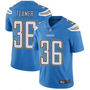 Los Angeles Chargers NFL Football Roderic Teamer Electric Blue Jersey Men Limited 36 Alternate Vapor Untouchable