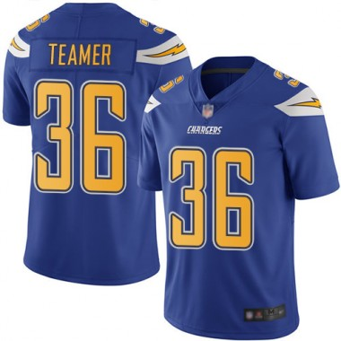 Los Angeles Chargers NFL Football Roderic Teamer Electric Blue Jersey Youth Limited 36 Rush Vapor Untouchable