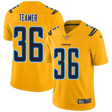 Los Angeles Chargers NFL Football Roderic Teamer Gold Jersey Men Limited 36 Inverted Legend