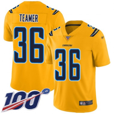 Los Angeles Chargers NFL Football Roderic Teamer Gold Jersey Men Limited 36 100th Season Inverted Legend