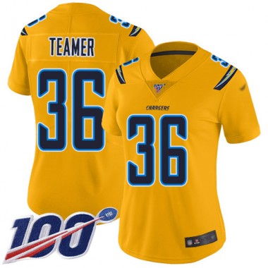 Los Angeles Chargers NFL Football Roderic Teamer Gold Jersey Women Limited 36 100th Season Inverted Legend