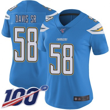 Los Angeles Chargers NFL Football Thomas Davis Sr Electric Blue Jersey Women Limited 58 Alternate 100th Season Vapor Untouchable