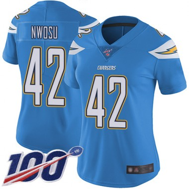 Los Angeles Chargers NFL Football Uchenna Nwosu Electric Blue Jersey Women Limited 42 Alternate 100th Season Vapor Untouchable