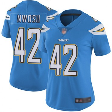 Los Angeles Chargers NFL Football Uchenna Nwosu Electric Blue Jersey Women Limited 42 Alternate Vapor Untouchable