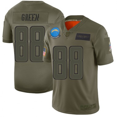 Los Angeles Chargers NFL Football Virgil Green Olive Jersey Men Limited 88 2019 Salute to Service