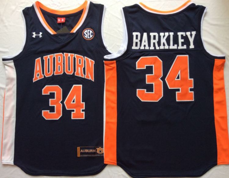 NCAA Men Auburn Tigers Blue 34 BARKLEY