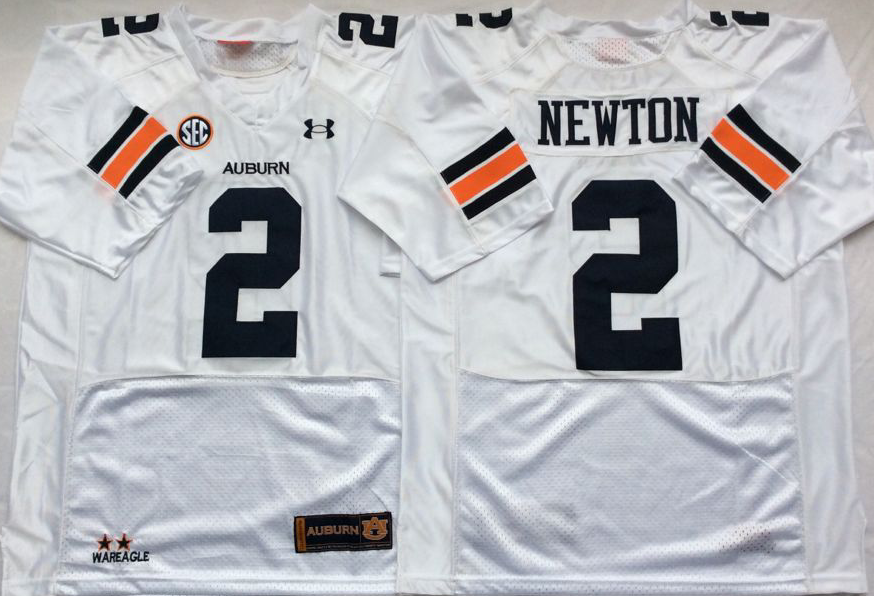 NCAA Men Auburn Tigers White 2 NEWTON