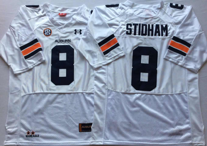 NCAA Men Auburn Tigers White 8 STIDHAM