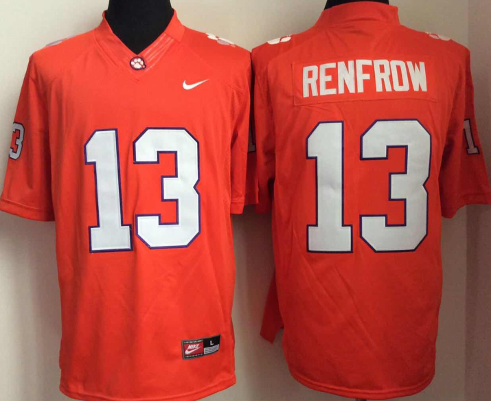 NCAA Men Clemson Tigers 13 RENFROW Orange