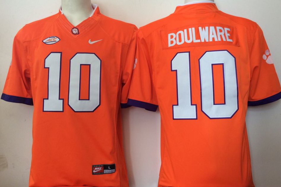 NCAA Men Clemson Tigers Orange 10 Boulware orange