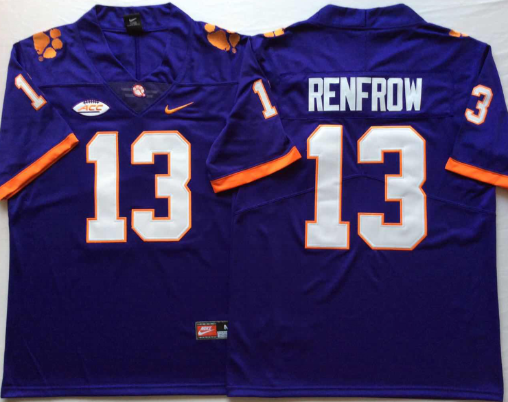 NCAA Men Clemson Tigers Purple 13 RENFROW