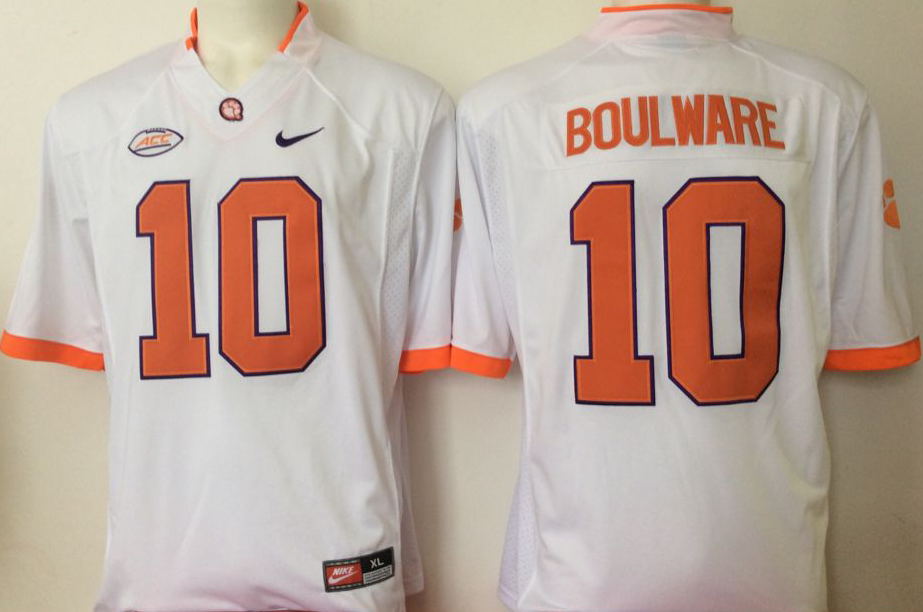 NCAA Men Clemson Tigers White 10 boulware