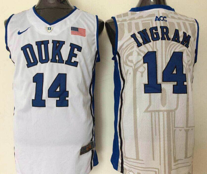 NCAA Men Duke Blue Devils 14 Ingram White