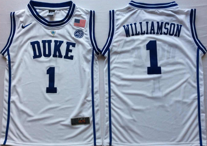 NCAA Men Duke Blue Devils White 1 WILLIAMSON.