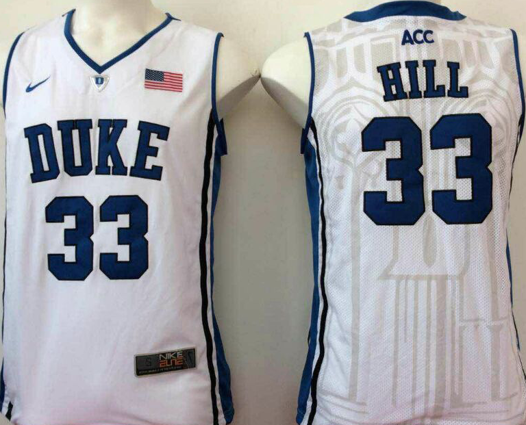 NCAA Men Duke Blue Devils White 33 hill