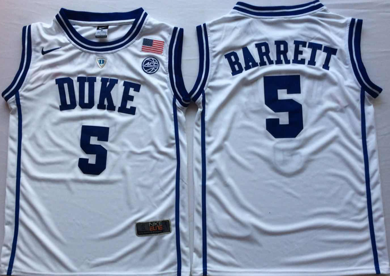 NCAA Men Duke Blue Devils White 5 BARRETT.