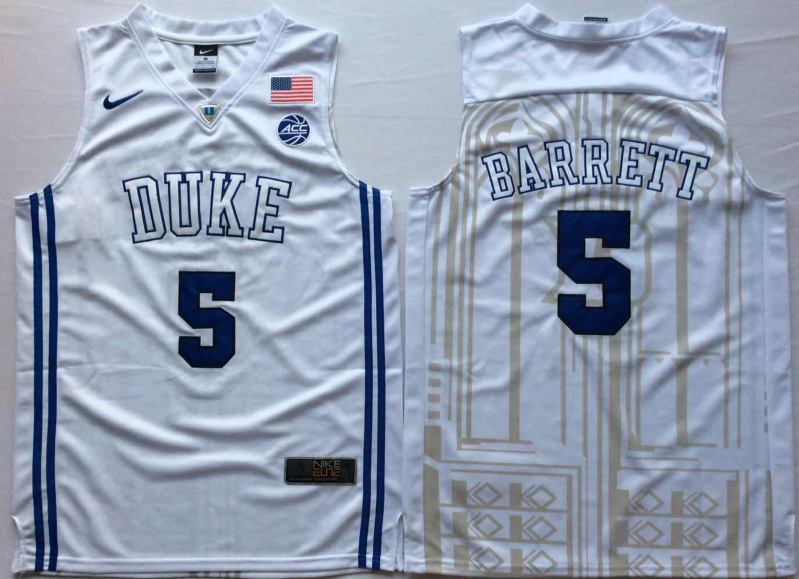 NCAA Men Duke Blue Devils White 5 BARRETT