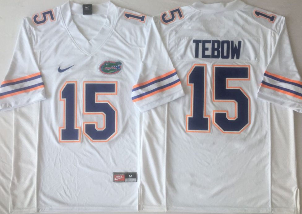 NCAA Men Florida Gators White 15 TEBOW