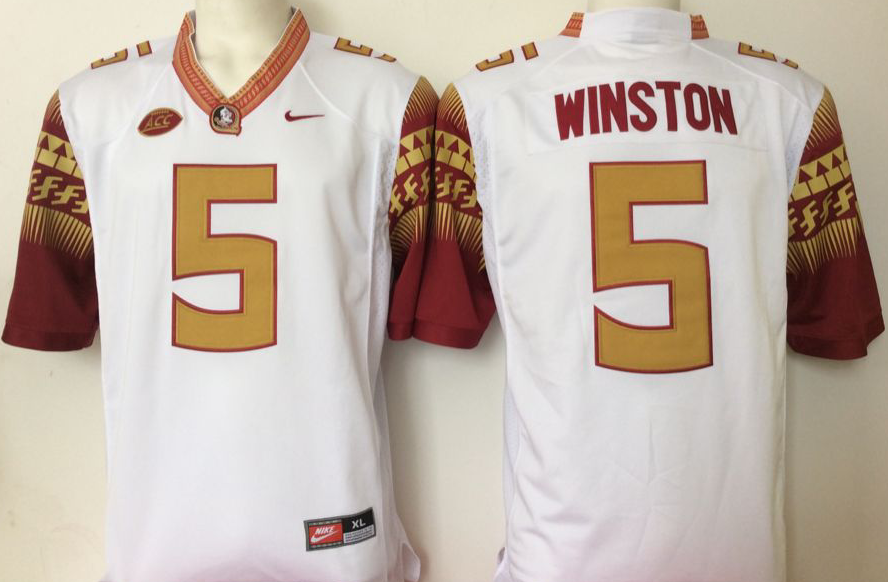 NCAA Men Florida State Seminoles White 5 winston