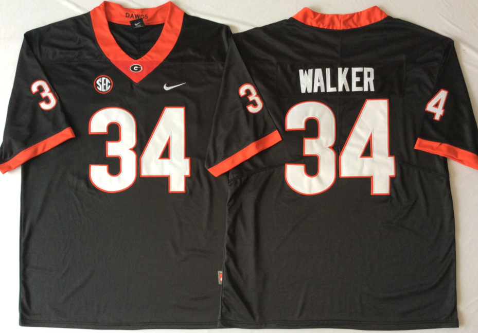 NCAA Men Georgia Bulldogs Black 34 WALKER