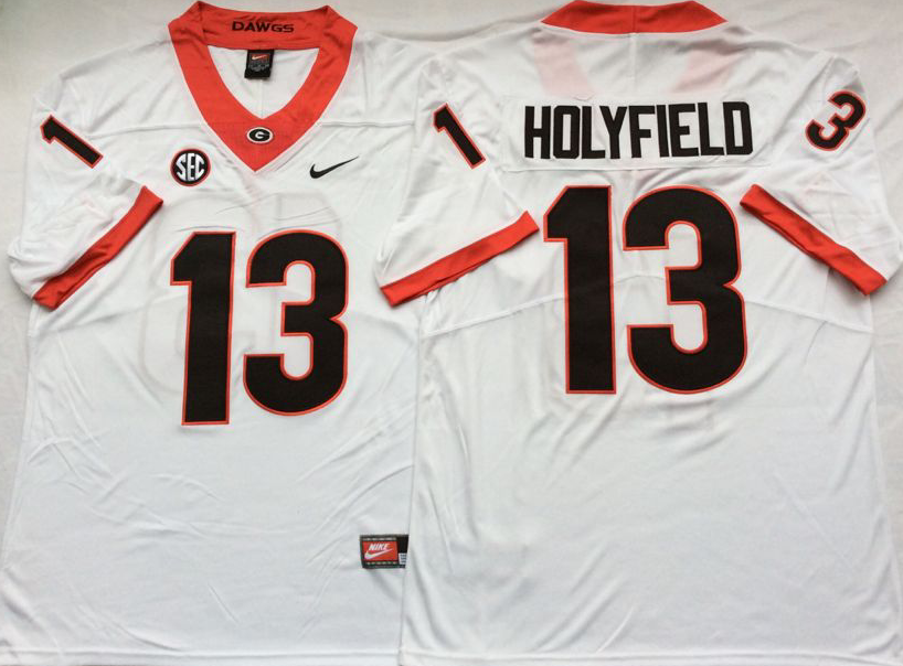NCAA Men Georgia Bulldogs White 13 HOLYFIELD