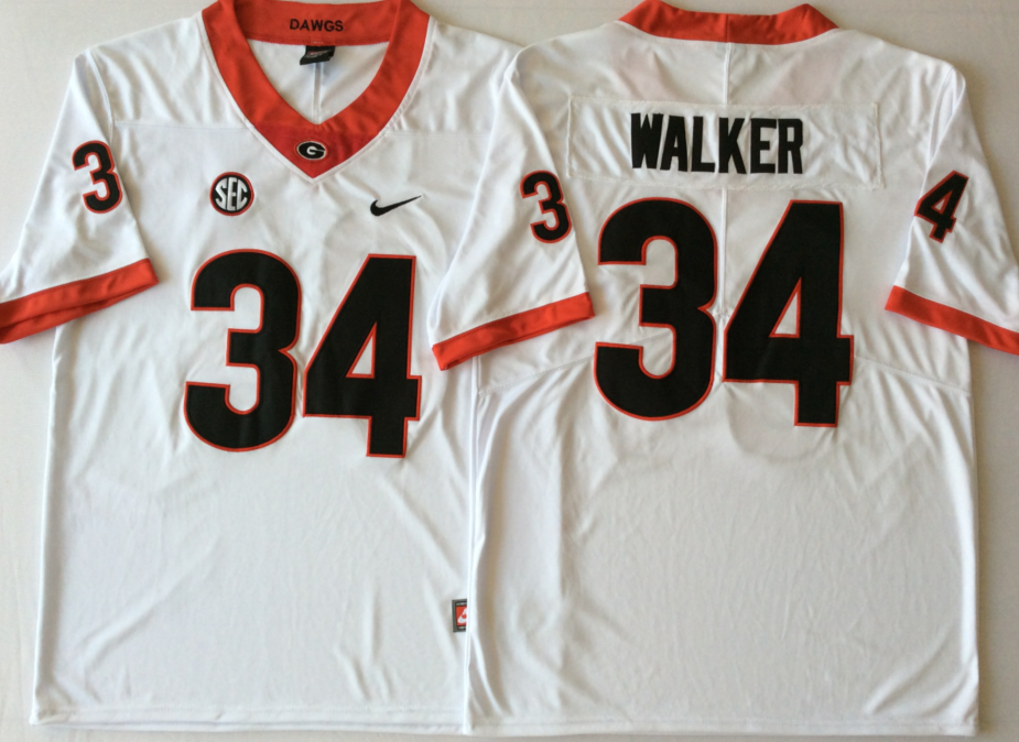 NCAA Men Georgia Bulldogs White 34 WALKER