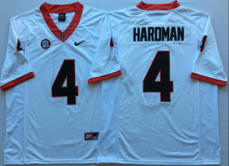 NCAA Men Georgia Bulldogs White 4 HARDMAN
